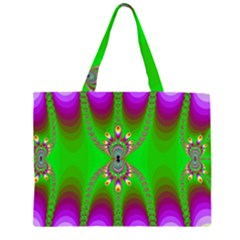 Green And Purple Fractal Large Tote Bag