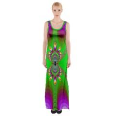 Green And Purple Fractal Maxi Thigh Split Dress