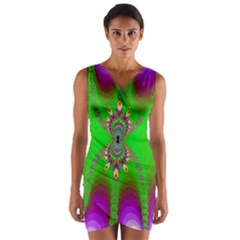 Green And Purple Fractal Wrap Front Bodycon Dress