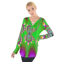 Green And Purple Fractal Women s Tie Up Tee