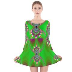 Green And Purple Fractal Long Sleeve Velvet Skater Dress