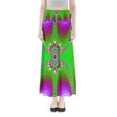 Green And Purple Fractal Maxi Skirts