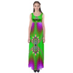 Green And Purple Fractal Empire Waist Maxi Dress