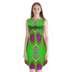 Green And Purple Fractal Sleeveless Chiffon Dress
