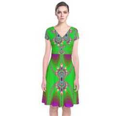 Green And Purple Fractal Short Sleeve Front Wrap Dress