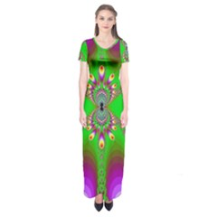 Green And Purple Fractal Short Sleeve Maxi Dress