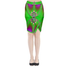 Green And Purple Fractal Midi Wrap Pencil Skirt