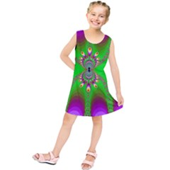 Green And Purple Fractal Kids  Tunic Dress