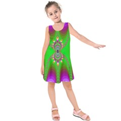 Green And Purple Fractal Kids  Sleeveless Dress