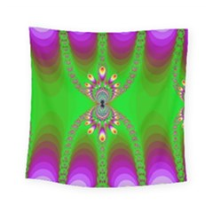 Green And Purple Fractal Square Tapestry (small)