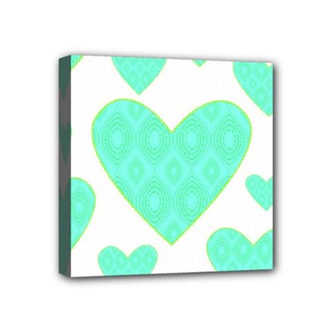 Green Heart Pattern Mini Canvas 4  x 4