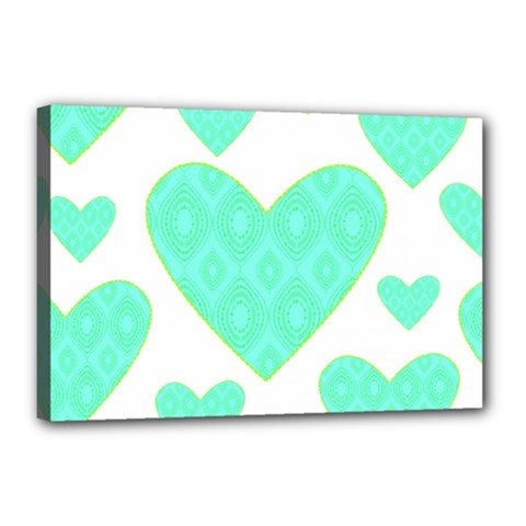 Green Heart Pattern Canvas 18  X 12