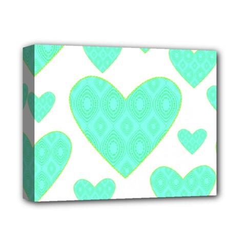 Green Heart Pattern Deluxe Canvas 14  X 11