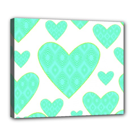 Green Heart Pattern Deluxe Canvas 24  X 20