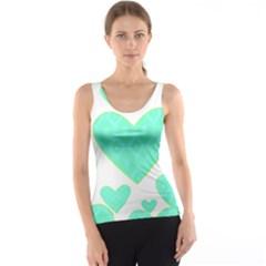 Green Heart Pattern Tank Top