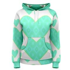 Green Heart Pattern Women s Pullover Hoodie