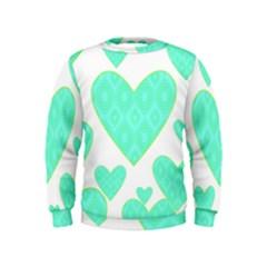 Green Heart Pattern Kids  Sweatshirt