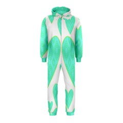 Green Heart Pattern Hooded Jumpsuit (kids)