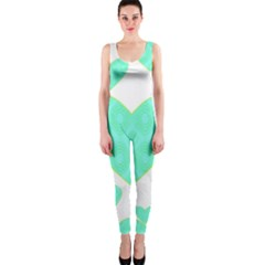 Green Heart Pattern Onepiece Catsuit