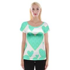 Green Heart Pattern Women s Cap Sleeve Top