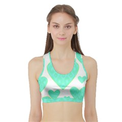 Green Heart Pattern Sports Bra With Border