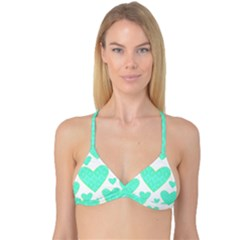 Green Heart Pattern Reversible Tri Bikini Top