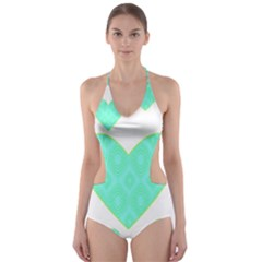 Green Heart Pattern Cut-Out One Piece Swimsuit