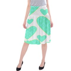 Green Heart Pattern Midi Beach Skirt