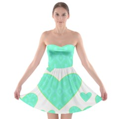 Green Heart Pattern Strapless Bra Top Dress