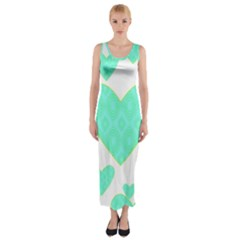 Green Heart Pattern Fitted Maxi Dress