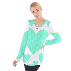Green Heart Pattern Women s Tie Up Tee