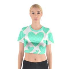 Green Heart Pattern Cotton Crop Top