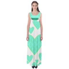 Green Heart Pattern Empire Waist Maxi Dress