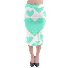Green Heart Pattern Midi Pencil Skirt