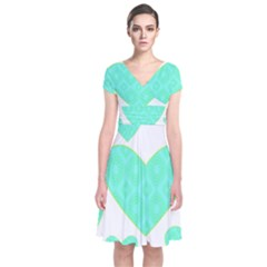 Green Heart Pattern Short Sleeve Front Wrap Dress