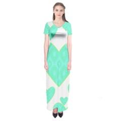 Green Heart Pattern Short Sleeve Maxi Dress