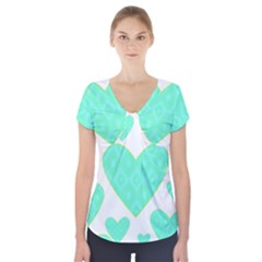 Green Heart Pattern Short Sleeve Front Detail Top