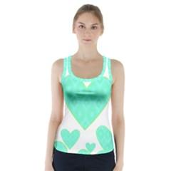 Green Heart Pattern Racer Back Sports Top