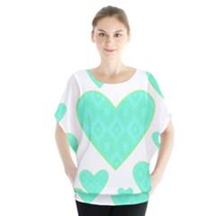 Green Heart Pattern Blouse