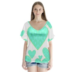 Green Heart Pattern Flutter Sleeve Top