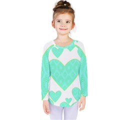 Green Heart Pattern Kids  Long Sleeve Tee
