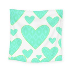 Green Heart Pattern Square Tapestry (small)
