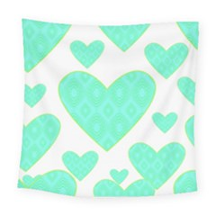 Green Heart Pattern Square Tapestry (large)