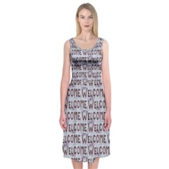 Welcome Letters Pattern Midi Sleeveless Dress