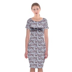 Welcome Letters Pattern Classic Short Sleeve Midi Dress