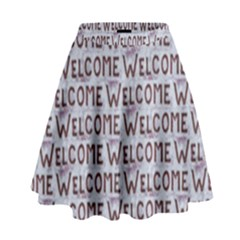 Welcome Letters Pattern High Waist Skirt