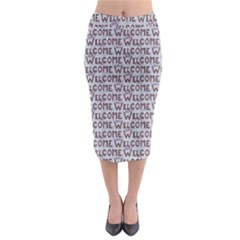 Welcome Letters Pattern Midi Pencil Skirt
