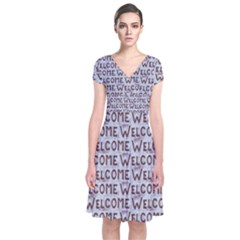 Welcome Letters Pattern Short Sleeve Front Wrap Dress