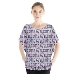 Welcome Letters Pattern Blouse