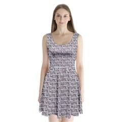 Welcome Letters Pattern Split Back Mini Dress